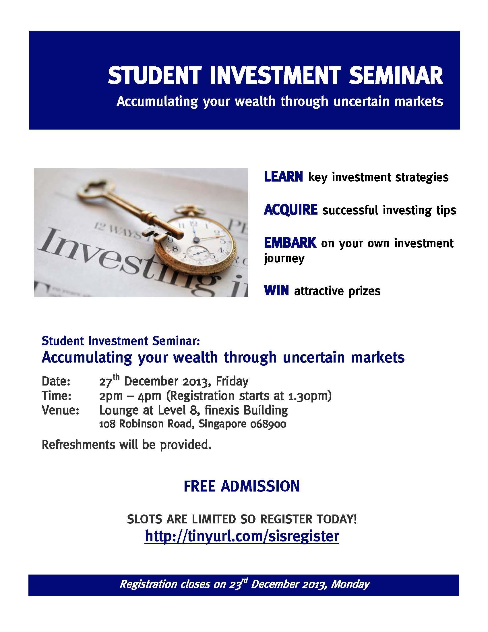 investment seminars nusecons | NUS Economics Society